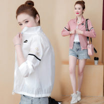 short coat Summer 2021 S M L XL XXL White pink Long sleeves have cash less than that is registered in the accounts Thin money singleton  easy commute Wrap sleeves stand collar zipper Solid color Qiusi Butterfly 96% and above Embroidered pocket zipper other Other 100% Pure e-commerce (online only)