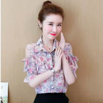 Lace / Chiffon Summer 2021 Green blue pink S M L XL XXL Short sleeve Versatile Socket singleton  easy Regular Polo collar Decor Petal sleeve Qiusi Butterfly Button with ruffle print Other 100% Pure e-commerce (online only)