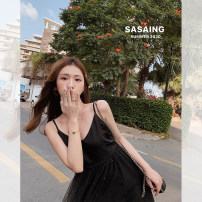 Dress Spring 2020 Black, apricot S,M,L longuette singleton  Sleeveless commute V-neck High waist other Socket other camisole 25-29 years old Other / other Korean version MS2003261306 51% (inclusive) - 70% (inclusive) other polyester fiber