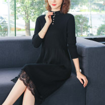 Dress Autumn 2020 Black coffee Decor coffee 2 S M L XL 2XL longuette singleton  Long sleeves commute Crew neck High waist Solid color Socket routine 40-49 years old Mingshu Korean version Cut and sew lace MS201031945 More than 95% knitting other Other 100%