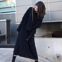 Women's large Autumn 2020 Black 2-piece set [small winter with Xiangao / New Year's greetings / 2021 spring women's wear] skirt Two piece set commute Self cultivation moderate Socket Long sleeves Solid color Retro One word collar Medium length Three dimensional cutting puff sleeve TGW3392 thread