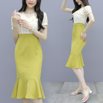 Dress Summer 2020 Picture color S M L XL Mid length dress Fake two pieces Short sleeve commute V-neck High waist stripe zipper Ruffle Skirt puff sleeve Others 25-29 years old Type X Jiaboer Ol style More than 95% Chiffon other Other 100% Pure e-commerce (online only)