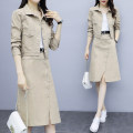 Dress Autumn of 2019 Khaki Green Black S M L XL 2XL Mid length dress Two piece set Long sleeves commute Polo collar High waist Solid color Single breasted One pace skirt shirt sleeve Others 25-29 years old Type H Jiaboer Korean version JBENRJ/C311D/5329 More than 95% other other Other 100%