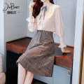 Dress Winter of 2018 Picture color S M L XL Mid length dress Two piece set Long sleeves commute Doll Collar High waist lattice Socket A-line skirt Petal sleeve Others 25-29 years old Type A Jiaboer Korean version More than 95% other other Other 100% Pure e-commerce (online only)