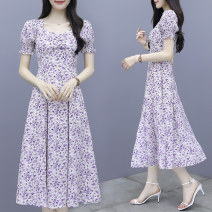 Dress Summer 2020 lilac colour S M L XL 2XL Mid length dress singleton  Short sleeve commute square neck High waist Broken flowers zipper A-line skirt puff sleeve Others 25-29 years old Type A Jiaboer Korean version JBENRJ/C315G/3303 More than 95% other other Other 100% Pure e-commerce (online only)