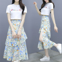 Dress Summer 2020 Decor S M L XL Mid length dress Two piece set Short sleeve commute Crew neck High waist Decor Socket Ruffle Skirt routine Others 25-29 years old Type A Jiaboer Korean version JBEBH/430A/1911 More than 95% other other Other 100% Pure e-commerce (online only)