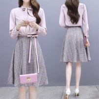 Dress Spring of 2019 Pink S M L XL 2XL Mid length dress Two piece set Long sleeves commute other High waist lattice zipper A-line skirt shirt sleeve Others 25-29 years old Type A Jiaboer lady JBEBH362 / eight hundred and seventy-three More than 95% other other Other 100% Pure e-commerce (online only)