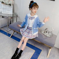 Wool knitwear Spring 2021 110cm,120cm,130cm,140cm,150cm,160cm Blue [shirt + skirt], blue three piece set Long sleeves Three piece set Cardigan cotton More than 95% Regular routine commute Self cultivation Doll Collar routine Solid color Single breasted Korean version Under 17