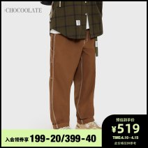 Casual pants :CHOCOOLATE Youth fashion S M L XL trousers Other leisure Straight cylinder Cotton 100% Spring 2021 Same model in shopping mall (sold online and offline)