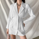 Dress Autumn 2020 White, black S,M,L Short skirt singleton  Long sleeves street tailored collar High waist Solid color Single breasted One pace skirt routine Others 18-24 years old Type H KLIOU Cut out, button K20D08930 91% (inclusive) - 95% (inclusive) other polyester fiber Europe and America