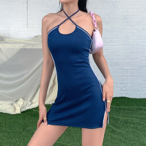 Dress Summer 2020 navy blue S,M,L Short skirt singleton  Sleeveless street One word collar High waist Solid color Socket other other Hanging neck style 18-24 years old Type H KLIOU Bandage D1737741 91% (inclusive) - 95% (inclusive) other polyester fiber Europe and America