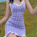 Dress Summer 2020 violet S,M,L Short skirt other Sleeveless street V-neck High waist lattice Socket other other camisole 18-24 years old Type X KLIOU Lace 91% (inclusive) - 95% (inclusive) other polyester fiber Europe and America