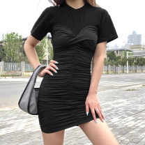 Dress Summer 2020 Black, white S,M,L Short skirt singleton  Short sleeve street Crew neck High waist other Socket other routine Others 18-24 years old Type X KLIOU Splicing D1738080 91% (inclusive) - 95% (inclusive) other polyester fiber Europe and America