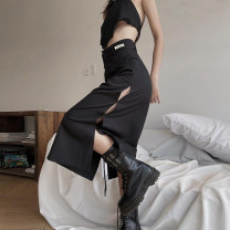 skirt Summer 2021 S,M,L black Mid length dress street High waist A-line skirt other Type A 18-24 years old 91% (inclusive) - 95% (inclusive) other KLIOU polyester fiber Europe and America