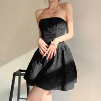 Dress Summer 2021 black S,M,L Short skirt singleton  Sleeveless street other High waist other other Princess Dress other Breast wrapping 18-24 years old Type X KLIOU fold K21D00489 91% (inclusive) - 95% (inclusive) other polyester fiber Europe and America