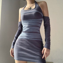 Dress Autumn 2020 grey S,M,L Short skirt singleton  Long sleeves street Crew neck High waist other Socket other routine Hanging neck style 18-24 years old Type X KLIOU 91% (inclusive) - 95% (inclusive) other polyester fiber Europe and America