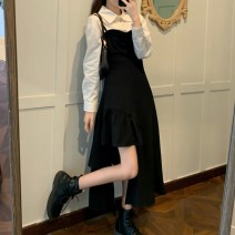 Women's large Winter 2020 M L XL 2XL 3XL 4XL Dress Two piece set commute Self cultivation Socket Long sleeves Solid color Britain Polo collar routine shirt sleeve 3520 spot shooting Chunli leaf 18-24 years old longuette Polyester 45% other 55% Pure e-commerce (online only) Irregular skirt zipper