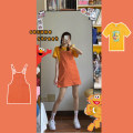 Women's large Spring 2021 L XL S M Dress Two piece set commute Straight cylinder Conjoined Short sleeve Animal design Korean version Crew neck routine sdfe233. Chunli leaf 18-24 years old pocket Middle-skirt Polyester 45% other 55% Pure e-commerce (online only) other