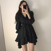 Women's large Spring 2021 Pink Black S M L XL Dress singleton  commute Conjoined Long sleeves Solid color Korean version V-neck routine 7117-53759 Chunli leaf 18-24 years old Bandage Middle-skirt Polyester 45% other 55% Pure e-commerce (online only) Ruffle Skirt