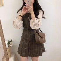 Women's large Autumn 2020 S M L XL Dress Two piece set commute Self cultivation Socket lattice Korean version Polo collar Medium length puff sleeve Chunli leaf 18-24 years old Short skirt Polyester 45% other 55% Pure e-commerce (online only) other