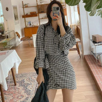 Women's large Winter 2020 Grey black check S M L XL Dress singleton  commute Self cultivation Socket Long sleeves lattice Korean version V-neck routine Chunli leaf 18-24 years old Bandage Medium length Polyester 45% other 55% Pure e-commerce (online only) Irregular skirt