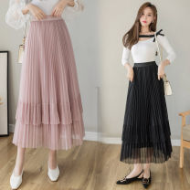 skirt Spring 2021 One size fits 80-135 kg Black apricot Pink Mid length dress Natural waist Ruffle Skirt Type A 25-29 years old ZX0021903A More than 95% Show other Other 100%