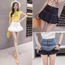 skirt Spring of 2019 S M L XL XXL White dark blue light blue Short skirt High waist A-line skirt 25-29 years old ZX1030401 More than 95% Show other Other 100%