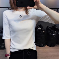 T-shirt White black S M L XL 2XL Spring 2020 Long sleeves Crew neck Self cultivation have cash less than that is registered in the accounts routine commute cotton 96% and above 18-24 years old originality Solid color Newifemona Cotton 100% Pure e-commerce (online only)