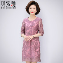 Middle aged and old women's wear Summer 2020 Pink Purple XL (recommended 80-100 kg) 2XL (recommended 100-115 kg) 3XL (recommended 120-130 kg) 4XL (recommended 130-145 kg) 5XL (recommended 145-160 kg) fashion Dress easy singleton  Flower and bird pattern 40-49 years old Socket moderate Crew neck Lace
