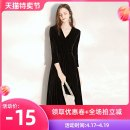 Dress / evening wear Weddings, adulthood parties, company annual meetings, daily appointments High end customized XS S M L XL XXL Velvet black fashion Medium length middle-waisted Winter of 2019 A-line skirt Deep collar V zipper 18-25 years old ALLLF0424 three quarter sleeve Solid color A Lian Li