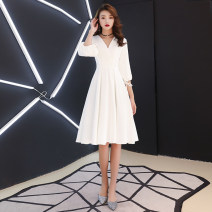 Dress / evening wear Weddings, adulthood parties, company annual meetings, daily appointments XS S M L XL XXL tailor made (no return, no change) grace Medium length middle-waisted Winter of 2018 Self cultivation Deep collar V zipper 18-25 years old ALLLF0288 three quarter sleeve Solid color A Lian Li