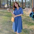 Dress Summer 2021 sky blue S,M,L Mid length dress singleton  Short sleeve commute V-neck High waist Single breasted routine 25-29 years old Type A Retro Frenulum