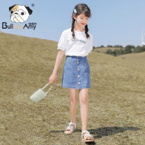 skirt 110cm 120cm 130cm 140cm 150cm 160cm Denim blue Greedy dog female Other 100% summer skirt Korean version Solid color A-line skirt other AF912101 Class B Summer 2021