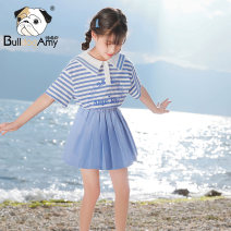 suit Greedy dog 110cm 120cm 130cm 140cm 150cm 160cm female summer college Short sleeve + skirt 2 pieces routine There are models in the real shooting Socket nothing stripe cotton Giving presents at school Class B Cotton 94.3% polyurethane elastic fiber (spandex) 5.7% Summer 2021 Chinese Mainland