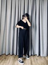 Women's large Summer 2020, spring 2020 black Large XL, large XXL, large XXL, large XXXXL, large XXXXL, large L trousers singleton  commute easy thin Solid color Korean version Three dimensional cutting 25-29 years old Button Ninth pants