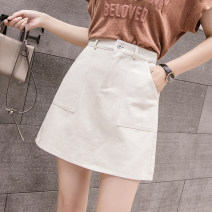 skirt Spring 2021 S M L XL 2XL White apricot blue black Short skirt commute High waist A-line skirt Solid color Type A 25-29 years old 91% (inclusive) - 95% (inclusive) Denim Xoonwen / Xuanwen polyester fiber Pocket zipper Korean version Other polyester 95% 5% Pure e-commerce (online only)