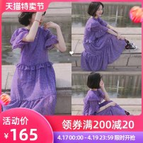 Women's large Summer 2020 violet S m large L Large XL singleton  commute Short sleeve Solid color Crew neck other Lotus leaf sleeve Shelley Jane 18-24 years old 96% and above longuette Other 100% Pure e-commerce (online only)