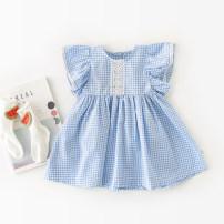 Dress Blue plaid skirt, Blue Plaid Dress female Rain / rain 66cm,73cm,80cm,90cm,100cm Cotton 100% summer princess Skirt / vest Solid color cotton Lotus leaf edge Class A 12 months, 3 years, 3 months, 18 months, 9 months, 6 months, 2 years Chinese Mainland