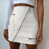 Women's large Summer of 2018 white Large L, s, M Solid color Other / other 25-29 years old Short skirt
