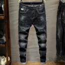 Jeans Youth fashion Suohuang / Suohuang 28 29 30 31 32 33 34 36 38 Black blue routine Micro bomb Cotton elastic denim SH-6056 trousers Cotton 98% polyurethane elastic fiber (spandex) 2% autumn youth middle-waisted Slim feet Youthful vigor 2019 Little straight foot Button Multiple pockets cotton