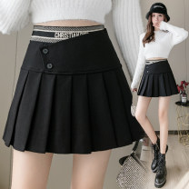 skirt Winter 2020 S,M,L,XL black Short skirt commute High waist Pleated skirt Solid color Type A Other / other