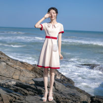 Dress Summer 2021 Apricot XS,S,M,L Short skirt singleton  Short sleeve commute Doll Collar High waist Solid color zipper A-line skirt routine Others Type A Korean version Panel, button, zipper D—834 More than 95% other other