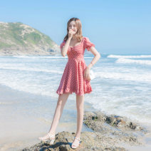 Dress Summer 2021 Pink dots XS,S,M,L Short skirt singleton  Short sleeve commute V-neck High waist Solid color zipper A-line skirt other Others 18-24 years old Type A Korean version zipper More than 95% other other