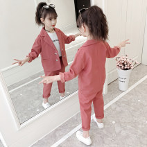 suit Panning wheat 110cm 120cm 130cm 140cm 150cm 160cm female spring and autumn Korean version Long sleeve + pants 3 pieces routine There are models in the real shooting Single breasted nothing cotton children Giving presents at school Class B Other 100% Autumn 2020 Chinese Mainland