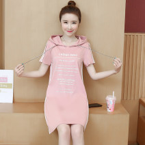 Dress Summer 2021 Black, pink S,M,L,XL,2XL,3XL Mid length dress singleton  Short sleeve commute Hood Loose waist letter Socket other routine Others 18-24 years old Type A Korean version Stitching, printing 81% (inclusive) - 90% (inclusive) cotton