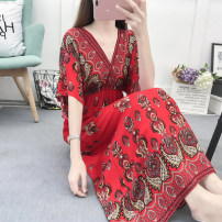 Dress Summer of 2019 S M L XL 2XL 3XL longuette singleton  Short sleeve commute V-neck Elastic waist Decor Socket Big swing other Others 25-29 years old Colorful flowers ethnic style Patchwork printing More than 95% brocade other Other 100% Pure e-commerce (online only)