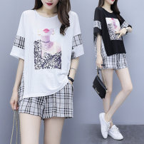 Women's large Summer 2020 Black and white T-shirt Two piece set commute easy thin Socket Short sleeve Korean version Crew neck routine cotton printing and dyeing Bat sleeve Colorful flowers 18-24 years old pocket 71% (inclusive) - 80% (inclusive) Other 100% Pure e-commerce (online only) shorts