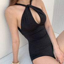 one piece  shishang S,M,L,XL black Triangle one piece swimsuit With chest pad without steel support nylon female Sleeveless Casual swimsuit Solid color