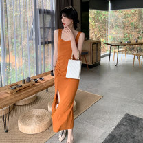 Dress Summer 2021 Orange dress pink dress black dress S M L XL longuette singleton  Sleeveless commute V-neck High waist Solid color Socket One pace skirt routine camisole 18-24 years old Shu Chen Korean version backless SC0764 More than 95% other Other 100%