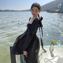 Dress Summer 2021 Black dress S M L XL longuette singleton  Long sleeves commute Crew neck High waist Solid color Socket A-line skirt routine Others 18-24 years old Shu Chen Korean version Splicing SC0618 More than 95% other Other 100%